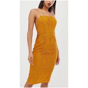 ASOS DESIGN square neck lace midi dress